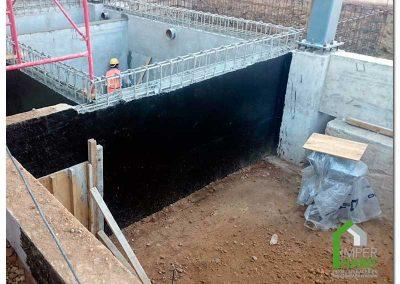 Barrera de Vapor en muro exterior de cisterna.