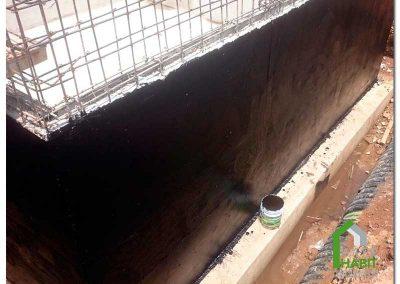 Impermeabilización de muro exterior de cisterna a base de Asfalto modificado en frió.